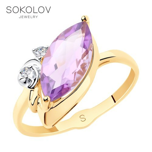 SOKOLOV Ring Gold With Amethyst And Cubic Zirconia Fashion Jewelry 585 Women's Male