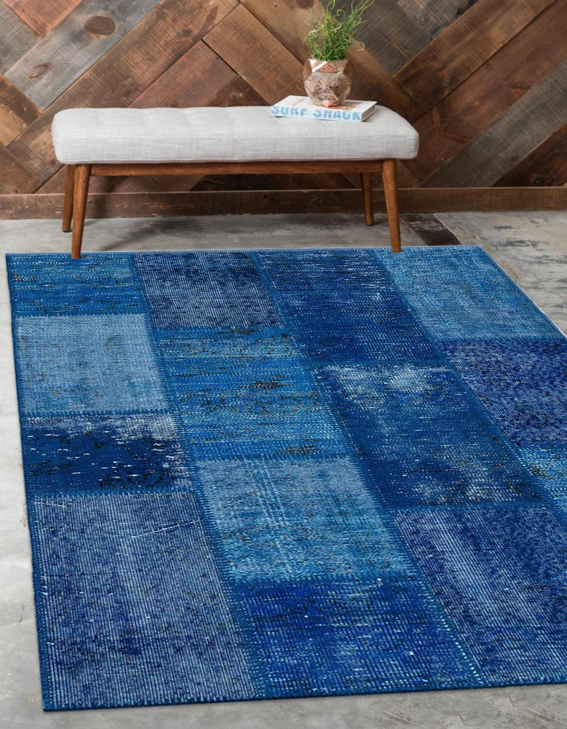 Else Blue Anatolian Patchwork Rug Turkish Handmade Organic Area Rug Decorative Home Decor Wool Patchwork Rug Carpet
