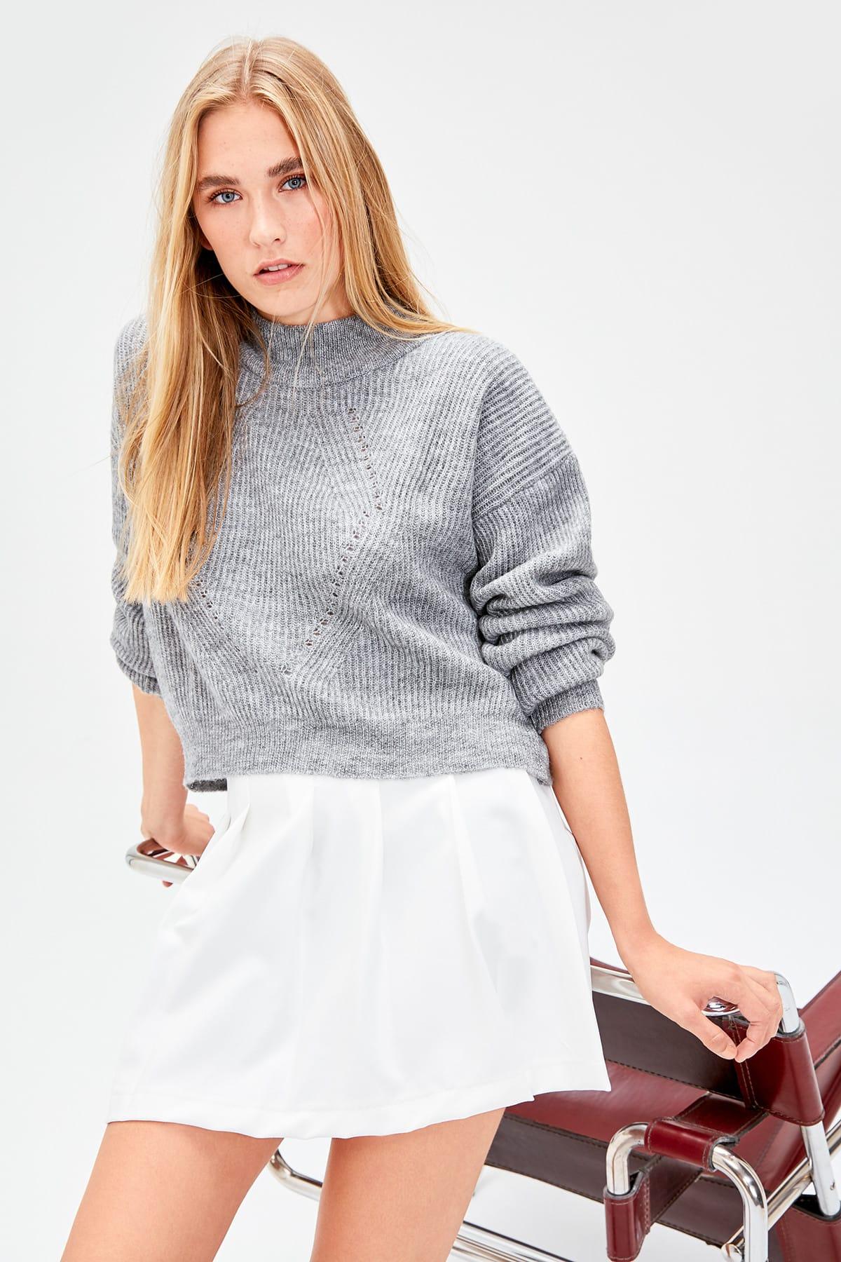 Trendyol WOMEN-Gray Mesh Detailed Knitwear Sweater TWOAW20ZA0011