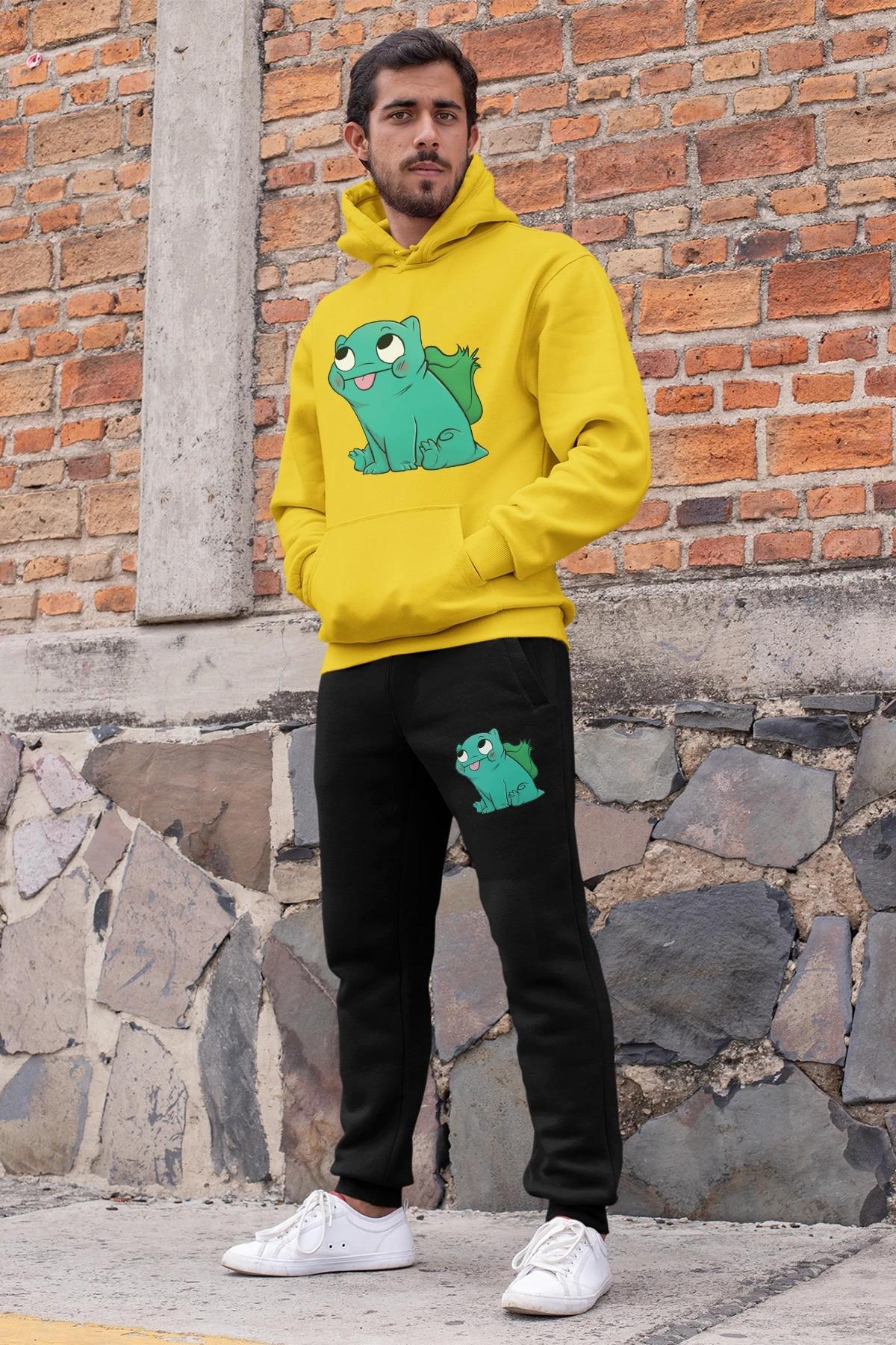 Black Yellow Hooded Tracksuit Set