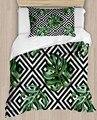 Sonst Grüne Blätter Schwarz Weiß Fliesen Geometrische 4 Stück 3D Druck Baumwolle Satin Einzelnen Bettbezug Bettwäsche Set Kissen Fall bett Blatt-in Bettbezug aus Heim und Garten bei
