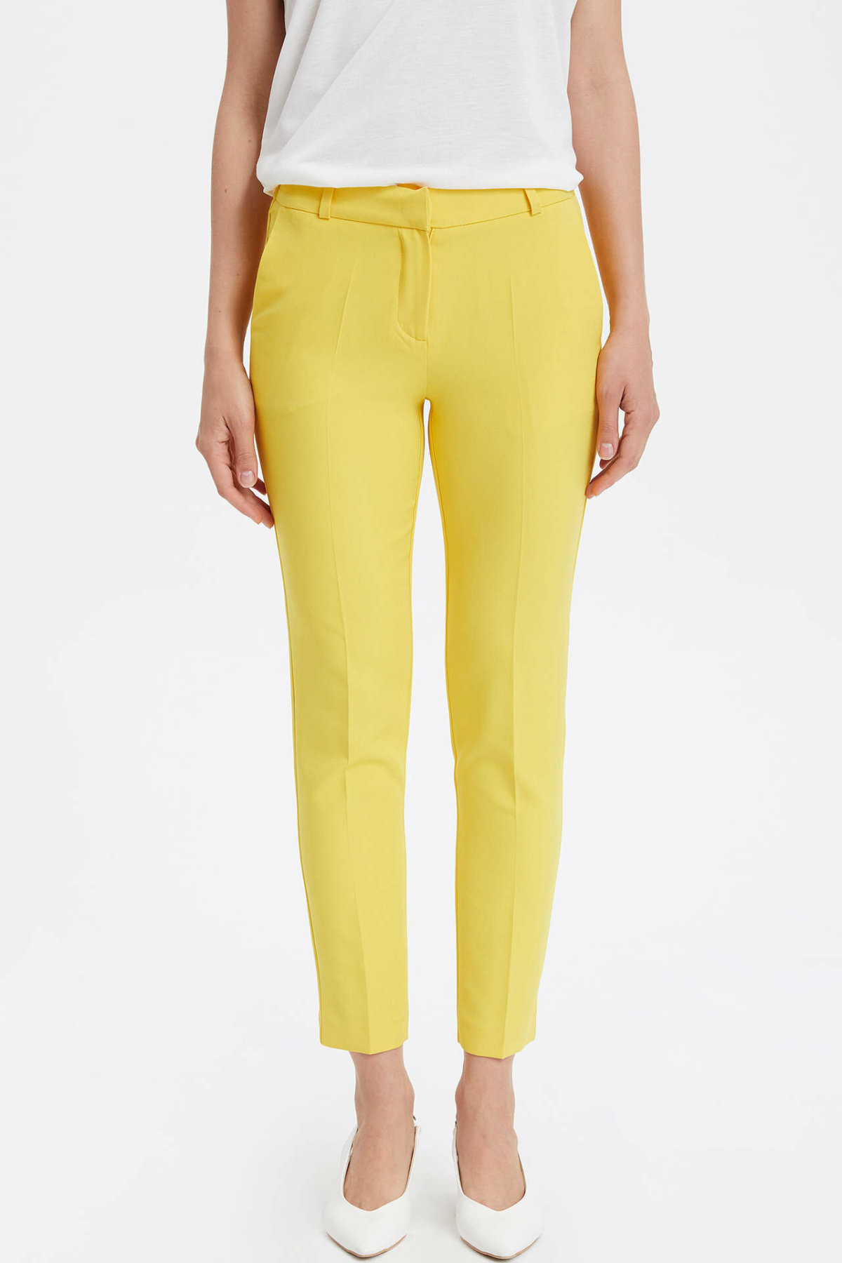 DeFacto New Woman Fashion Trousers Female Casual Crop Pants Ladies Comfort Simple Pant High Quality Yellow - L4583AZ19SM