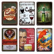 Jagermeister – panneaux métalliques en étain pour bière, Vintage, décor de cuisine, maison, Shabby Chic, affiche de Menu de café, TIki Bar Restaurant, panneaux muraux en métal