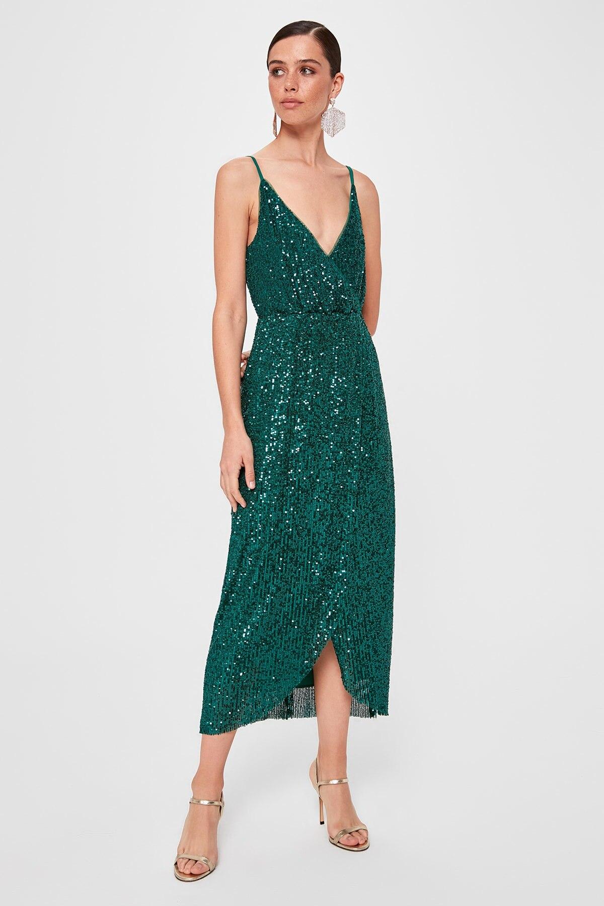 Trendyol Sequined Wraped Dress TPRSS19FZ0516()