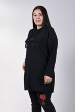 Women's Large Size Fronting Tassels Black Tunic 160