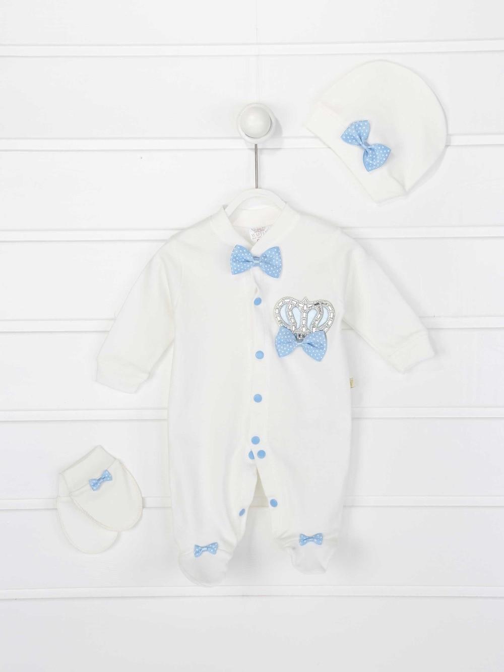 082-2022-015 Mavi Kral Taçlı Erkek Bebek 3 lü Tulum (1)