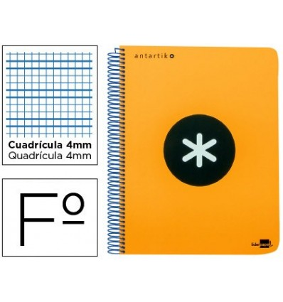 SPIRAL NOTEBOOK LEADERPAPER A4 ANTARTIK HARDCOVER 80H 100 GR TABLE 5MM MARGIN COLORNARANJA FLUOR