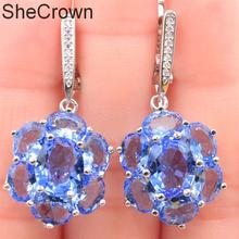 38x17mm Romantic Created Rich Blue Violet Tanzanite Natural Cz Gift For Womans Silver Earrings