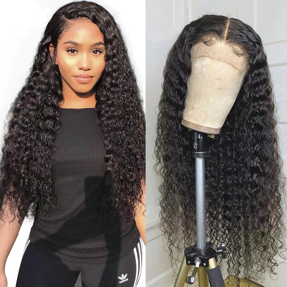 Brazilian Deep Wave Lace Frontal Human Hair Wigs 13*4 Lace Frontal Wigs With Baby Hair Pre Plucked Natural Hairline Lace Wigs