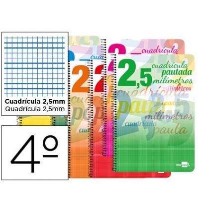 SPIRAL NOTEBOOK LEADERPAPER ROOM PAUTAGUIA SOFTCOVER 40H 80GSM BOX SCHEDULED 2,5MMCON MARGIN ASSORTED COLORS
