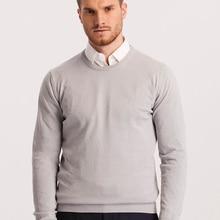 Hateko Men Cotton Mix Crewneck Ice Grey Sweater Slim Fit