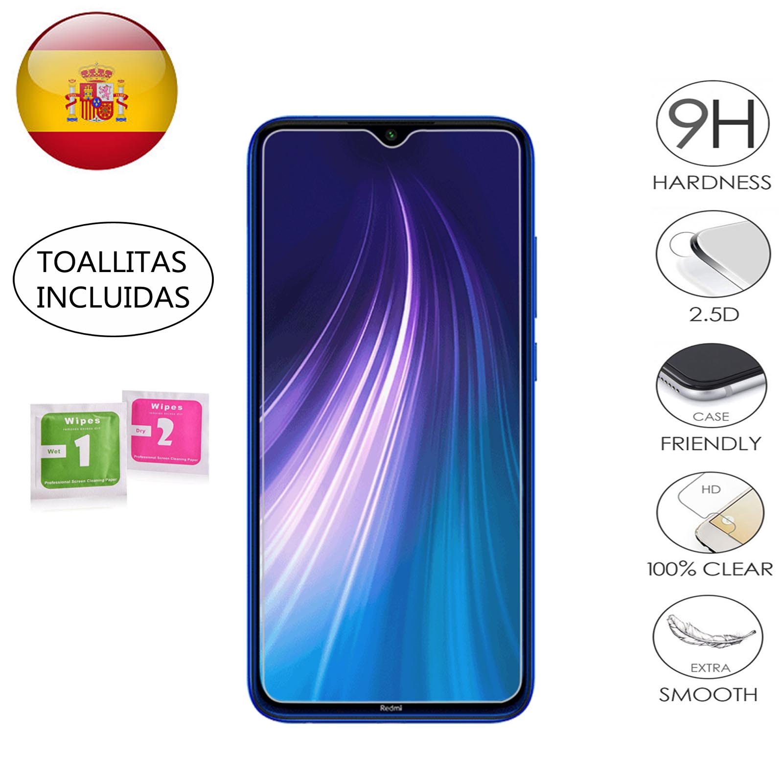 Screen Protector For Xiaomi Redmi Note 8 Tempered Glass T 9H 2.5D Glass Premium 0,3mm