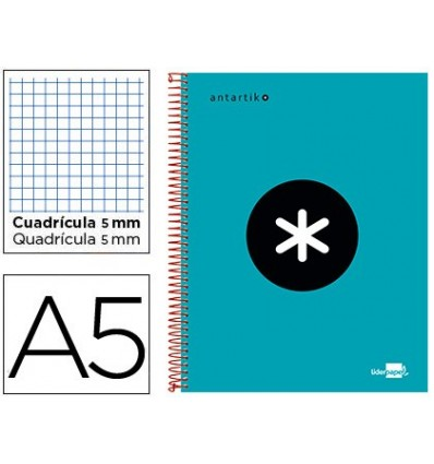 SPIRAL NOTEBOOK LEADERPAPER A5 MICRO ANTARTIK LINED TOP 120H 100 GR CUADRO5MM BANDS 6 DRILLS TURQUOISE