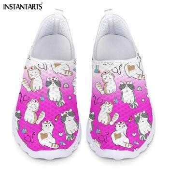 INSTANTARTS-zapatillas de deporte ligeras para mujer, Zapatos de malla con gradiente, estampado...