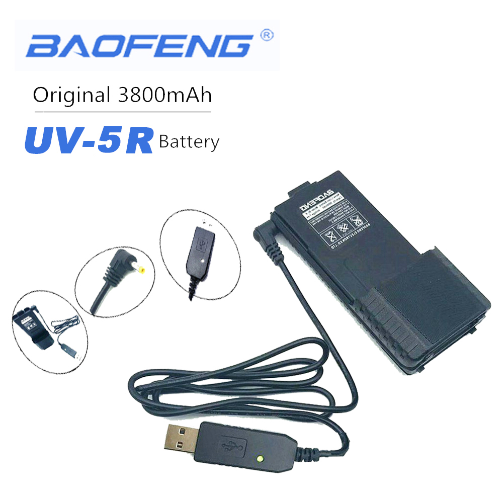 100% Original Baofeng BL-5 Details About USB Charger Cable With Indicator Light For BaoFeng UV-5R V6 Walkie Talkie UV5R Cb Radio