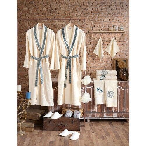 Nakkish Family Bathrobe Set Cotton 16 Piece MALE WOMEN SET FAMILY COMBINED SOFT TEXTURED CHIC DESIGN WHITE BATH TURKISH QUALITY