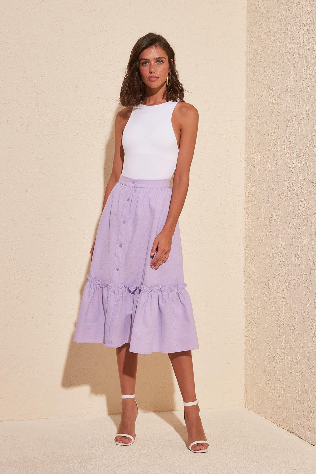 Trendyol Button Detail Skirt TWOSS20ET0106
