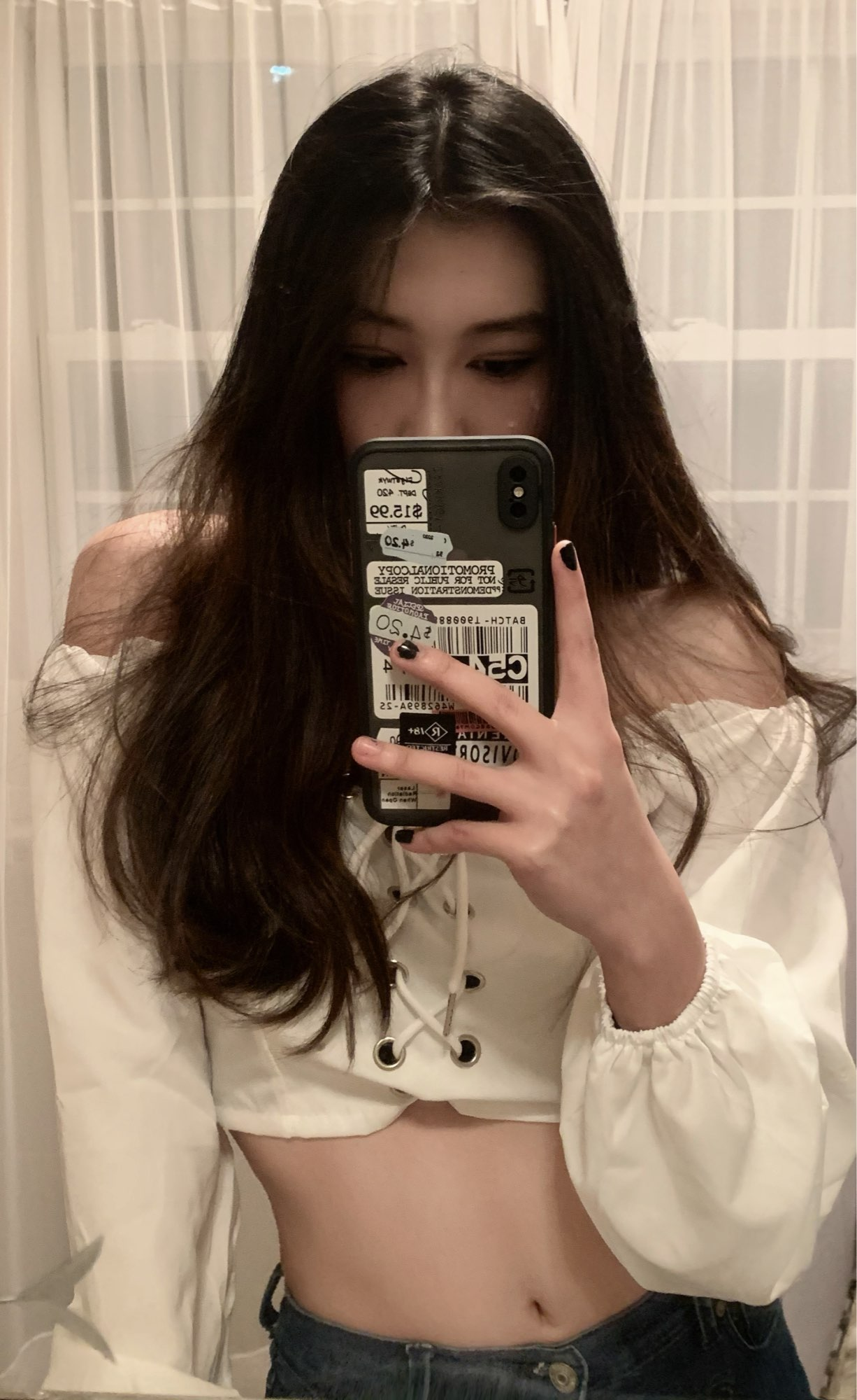 Off Shoulder Crop Top with long sleeves photo review