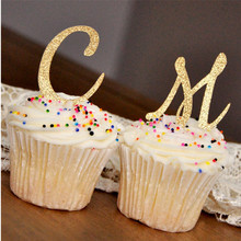 Personalize Initial Letter glitter Cupcake Toppers Pink and Gold Birthday Party Decorations Wedding paty milestones birthday paty cantú chile