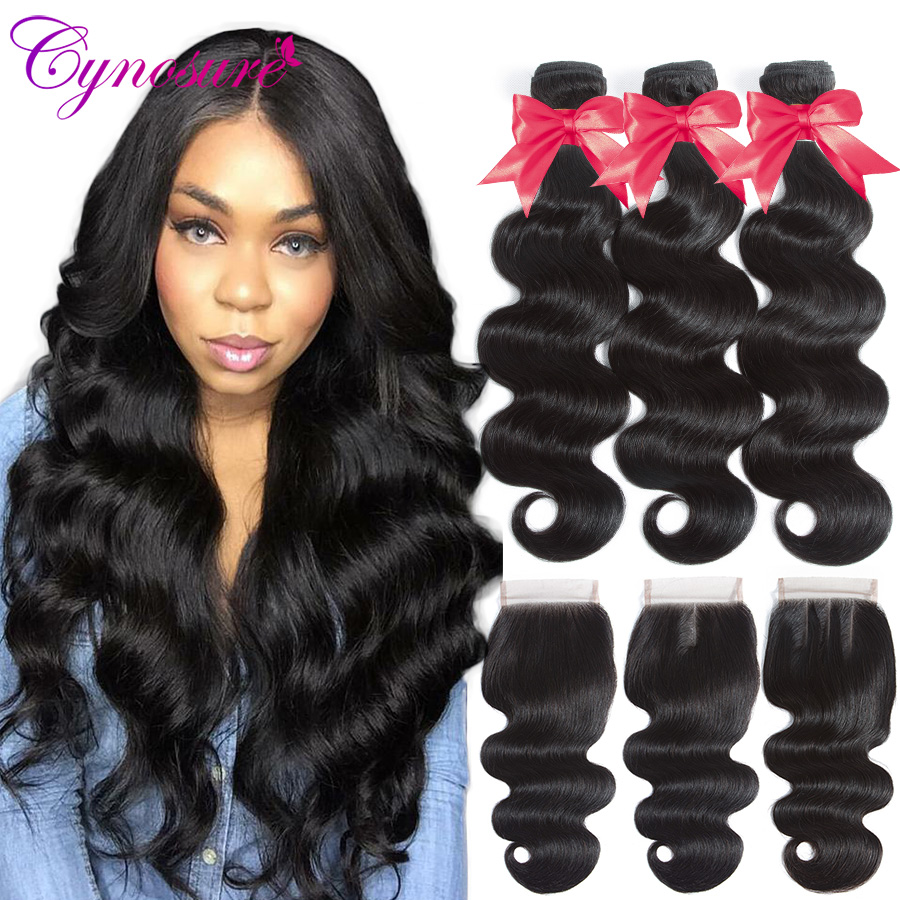 Ucde485d560394c74b91fe396b1598a62f Cynosure Brazilian Hair Weave 3 Bundles With Closure Double Weft Body Wave Human Hair Bundles With Closure Remy Medium Ratio