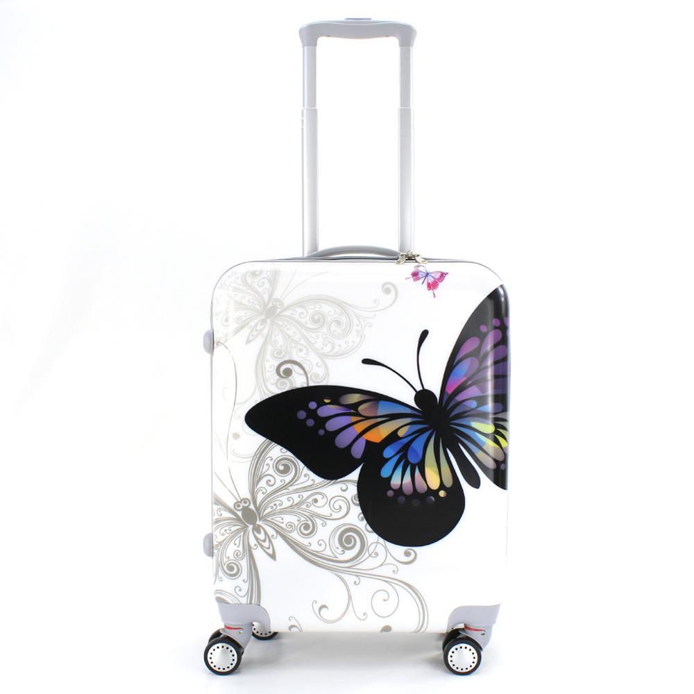 Valise cabine estampillée papillons 55cm rigide avec sac cosmétique