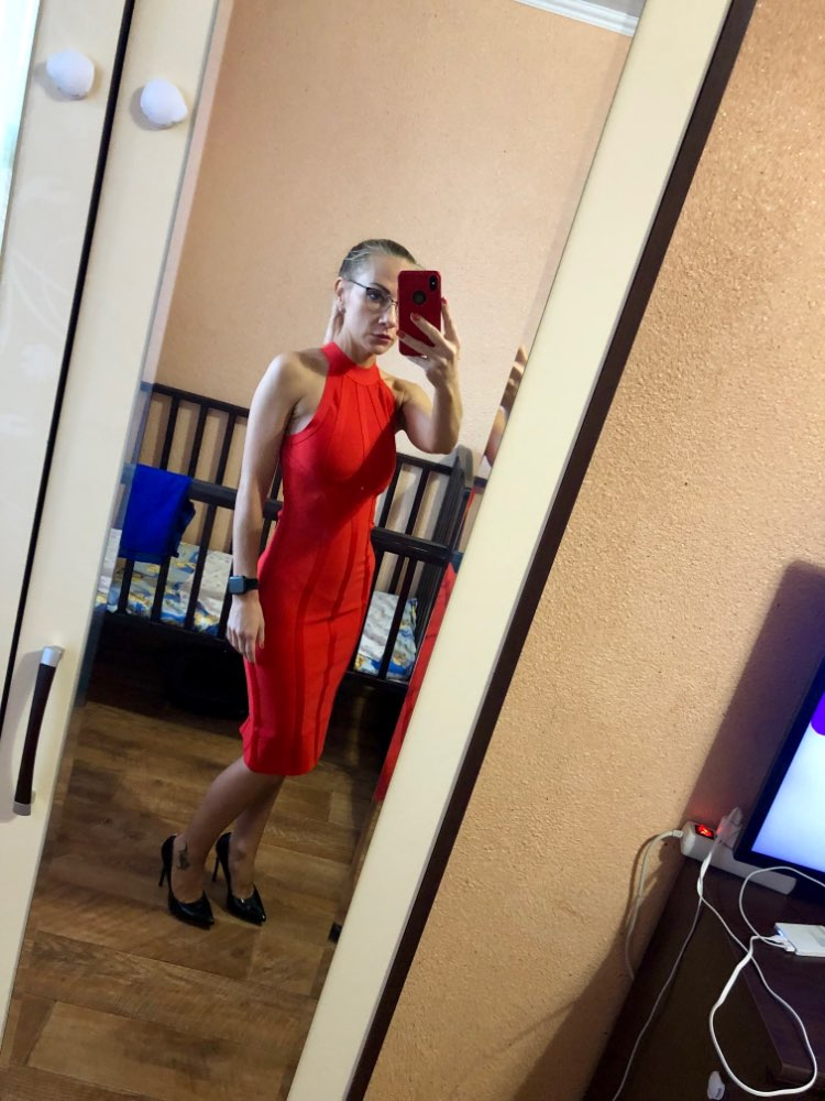 Ocstrade Red Christmas Bandage Dress Bodycon New Year Dresses For Women Sexy Striped High Quality Midi Bandage Dress Party photo review