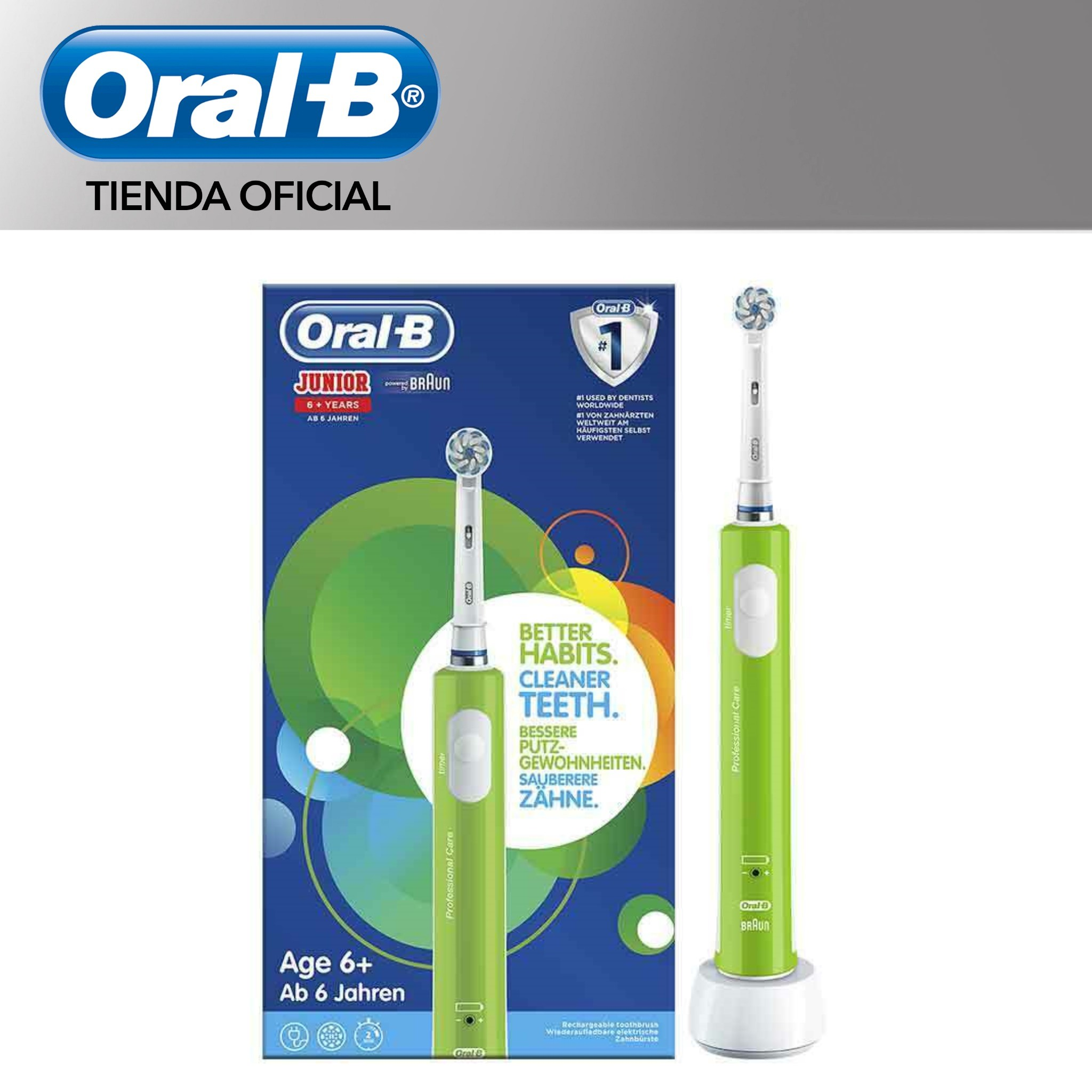 ORAL-B Junior order child electrics Toothbrush beginning year 6 Timer Filaments extrasuaves Cleaning 3D Green image