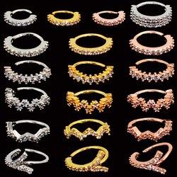 1pc redondo gem anel de zircão dobrável sem costura anel de nariz anel cirúrgico cristal orelha trague cartilagem brinco piercing 1mm