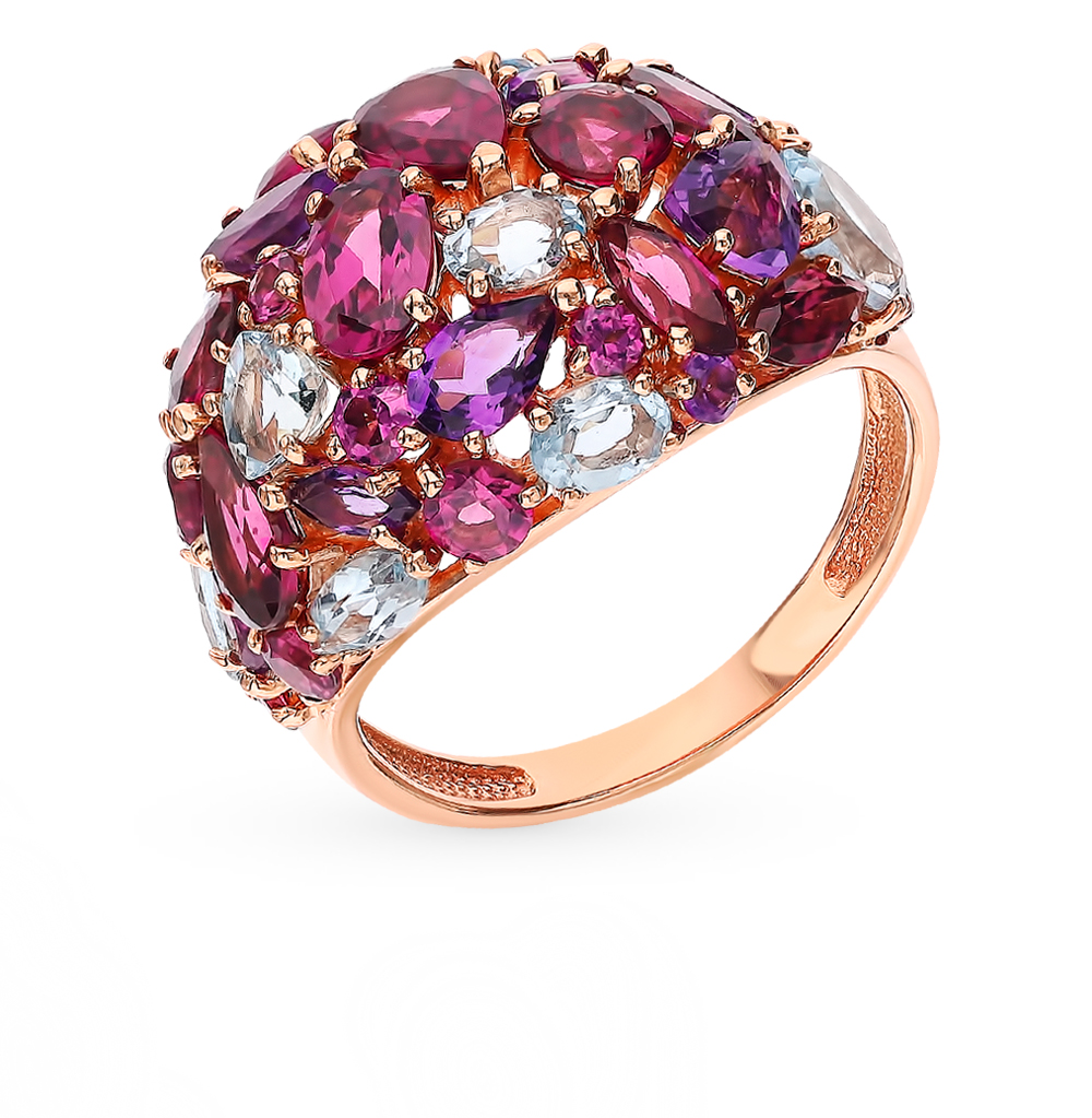 Gold Ring With Rhodolites, Amethyst And Topaz Sunlight Sample 585