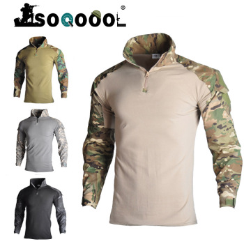 Soqoool Tactical Combat Shirt Military Uniform Us Army Clothing Airsoft Multicam Camouflage Hunting Fishing Clothes Mens soqoool tactical softshell camouflage jacket set army windbreaker waterproof hunting clothes military uniform jackets and pants