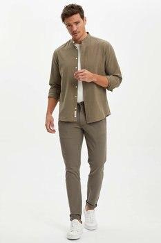 DeFacto męskie spodnie wiosenne męskie jednokolorowe długie spodnie męskie eleganckie spodnie w stylu Casual męskie sznurowane Trousers-M7835AZ20SP