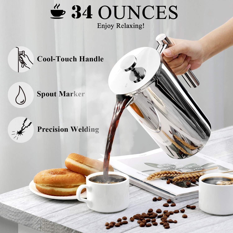 French Press Coffee Maker 4 Level Filtration Coffee Percolator Pot Large Capacity Manual Teapot Coffee Machine 350/800/1000ML