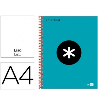 SPIRAL NOTEBOOK LEADERPAPER A4 MICRO ANTARTIK LINED TOP 120H 100 GR WITH BANDS 4 DRILLS TURQUOISE