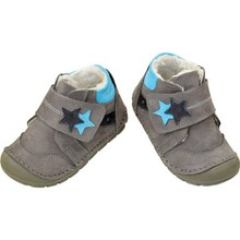 Captain Junior FIRST Step Leather Male Baby Shoes Gray Blue Antibacterial Orthopedic Soft Flexible Light Anti-Slip Soles