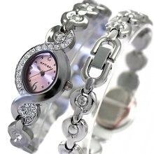 Благородные эллиптические розовые часы в стиле ретро тонкие