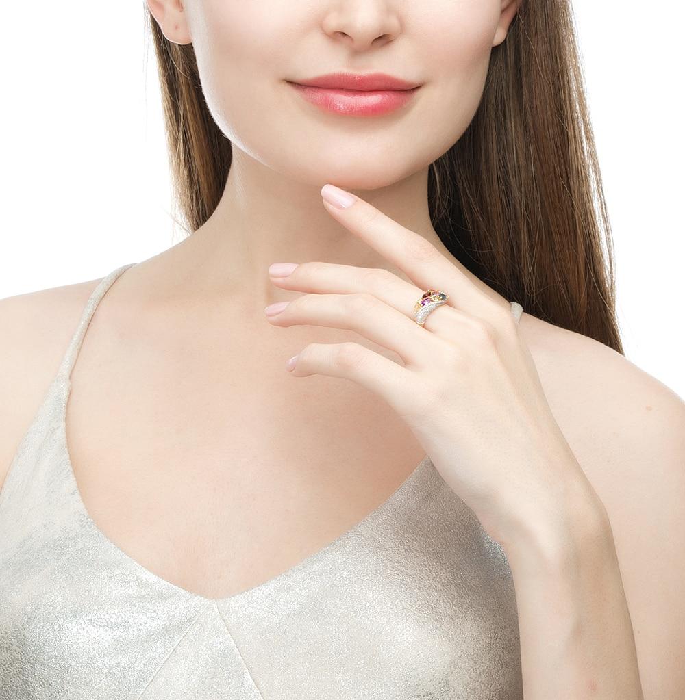Gold Ring With Peridot, Amethyst, Topaz, Garnet, Citrine And Diamond SUNLIGHT Test 585