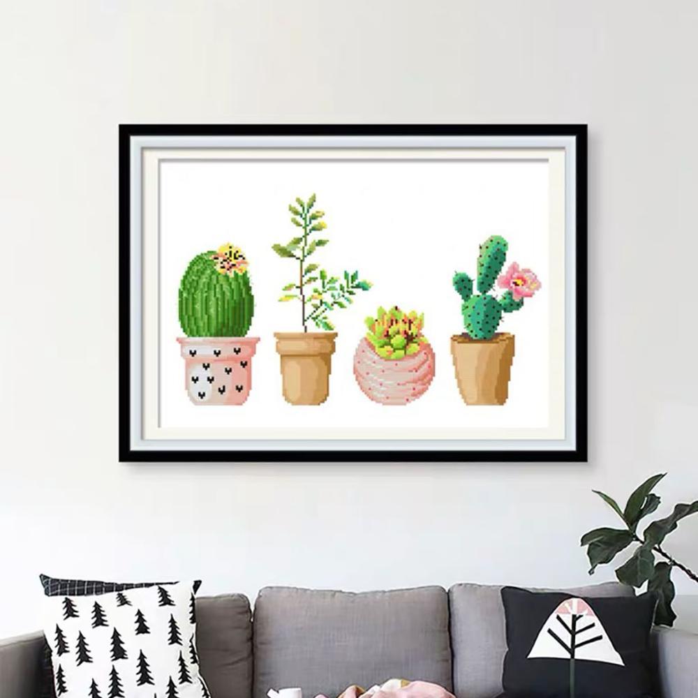 Succulent Plant Cactus Pot Stamped Cross Stitch Kit 19.7 x 15.0