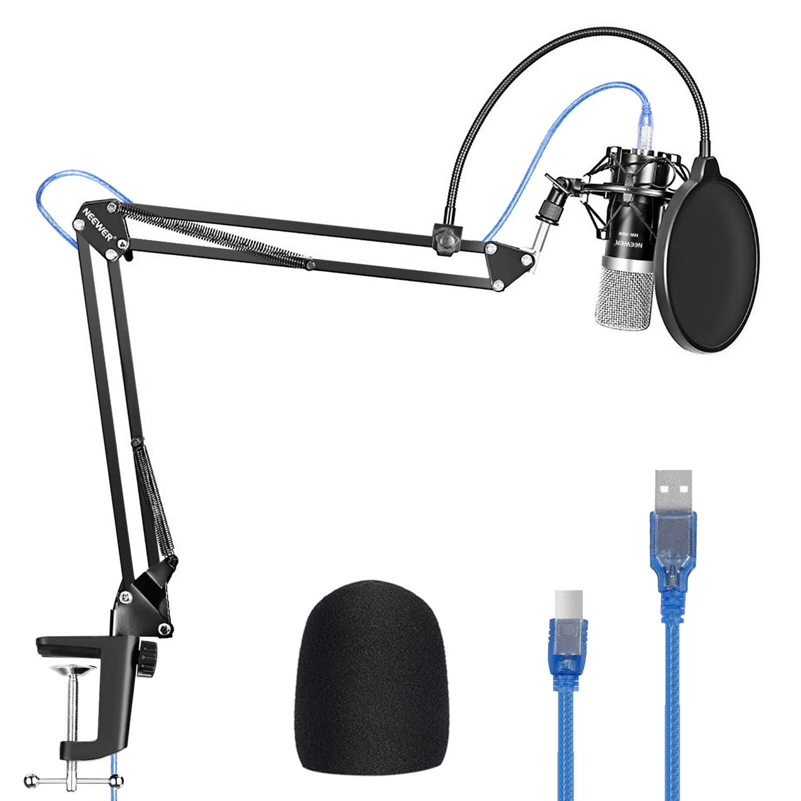 USB-микрофон Neewer для Windows и Mac с подставкой, Противоударное Крепление, поп-фильтр, комплект для вещания и звукозаписи (черный)