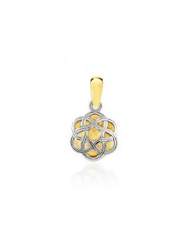 Gold pendant Two-Color flower with knots (9kts)