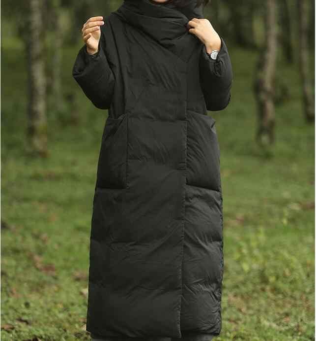 黒暖かい女性の冬のコートダウンジャケット冬のコートダウン厚いコートプラスサイズロングシンプルなスタイル
