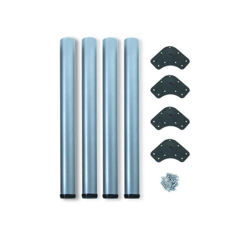 Kit 4 Table Legs Adjustable Emuca D. 60x710mm Steel Metallic Gray