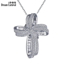 DreamCarnival 1989 Trendy Cross Bowknot Pendant Necklace Link Chain Amazing Price Zircon Fashion Jewelry Christmas Gift SZ12599