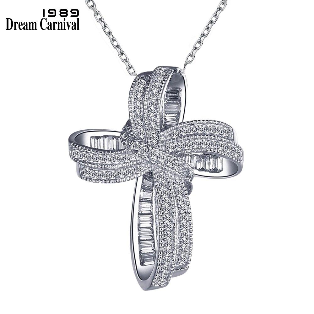 DreamCarnival 1989 - collier pendentif femme, chaîne à maillons avec pendentif nœud papillon tendance en forme de croix, bijou fantaisie en zircone cubique blanche, idéal comme cadeau de Noël, SZ12599