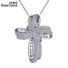 Dreamcarnival 1989 na moda cruz bowknot pingente colar link corrente preço incrível zircão moda jóias presente de natal sz12599