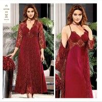 JEREMI 573 6 Pieces COTTON Silk Sets Women Bride Trousseau Dowry Sexy Lace Robe Sleepwear Kit Nightwear Pyjama Sets Gift Turkish