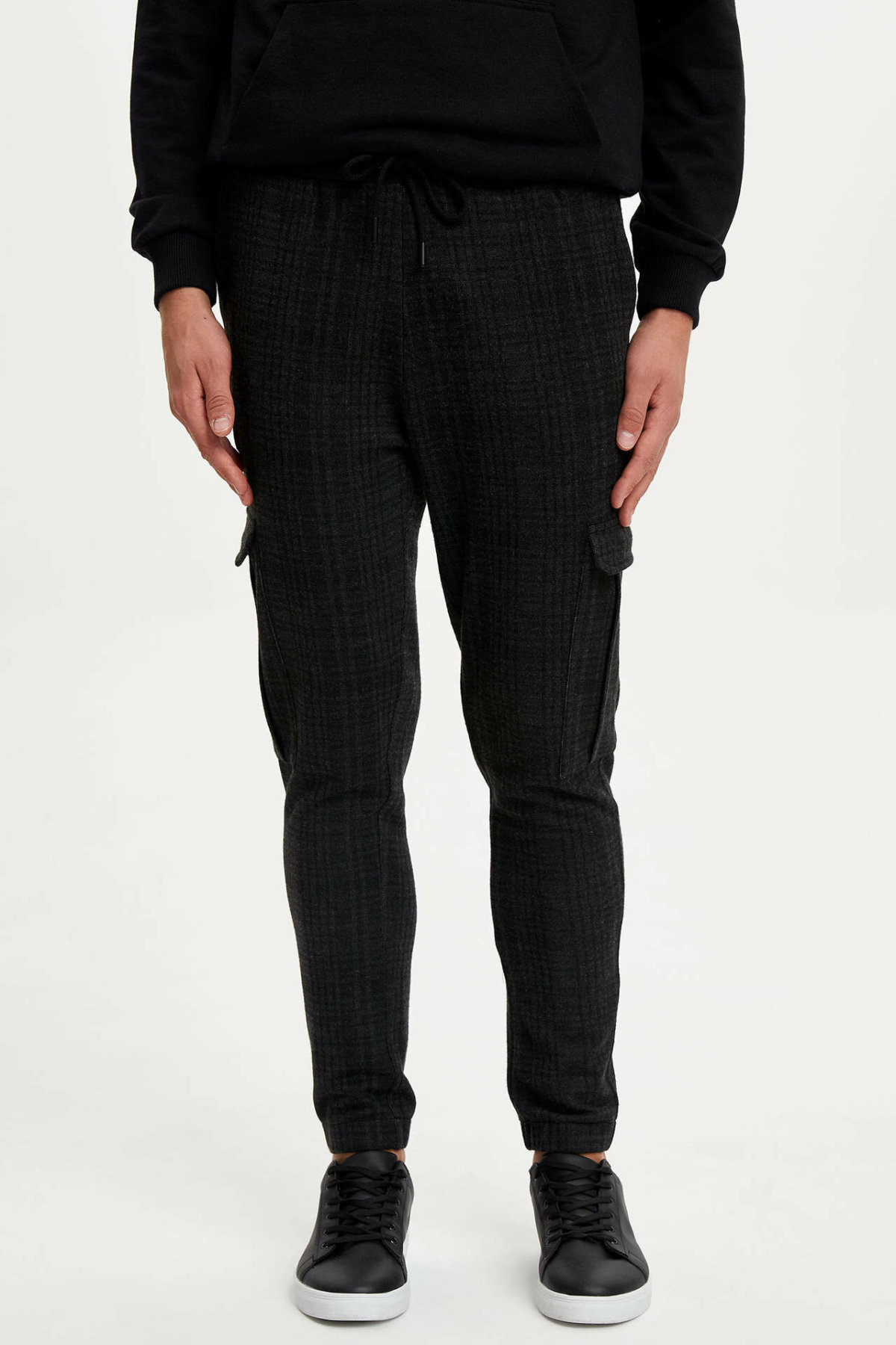DeFacto Man Winter Black Cargo Pants Men Casual Lace-up Bottoms Male Knitted Bottoms Trousers-L6397AZ19WN