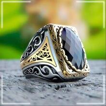 925 bague en argent Sterling pour homme véritable aigue-marine Zircon pierre à la main bijoux turcs