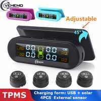 Vehemo Wireless USB TPMS Tire Pressure 4PCS External Sensor Type Real-Time Display Car Alarm Digital Dashboard Android Tmps Tyre