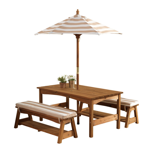 Children Tables KidKraft  Table With Benches And An Umbrella (white-brown Strip) Children's Furniture For Kids Children's Table Children's Table With High Chair Children's Play Set Bench Furniture Set Desk