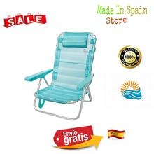 Aktive 53963 Silla multiposición aluminio Beach, 108x60x82 cm Azul mediterráneo